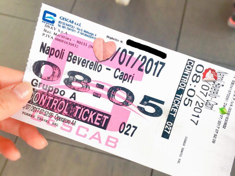 ナポリ発カプリ島行チケット