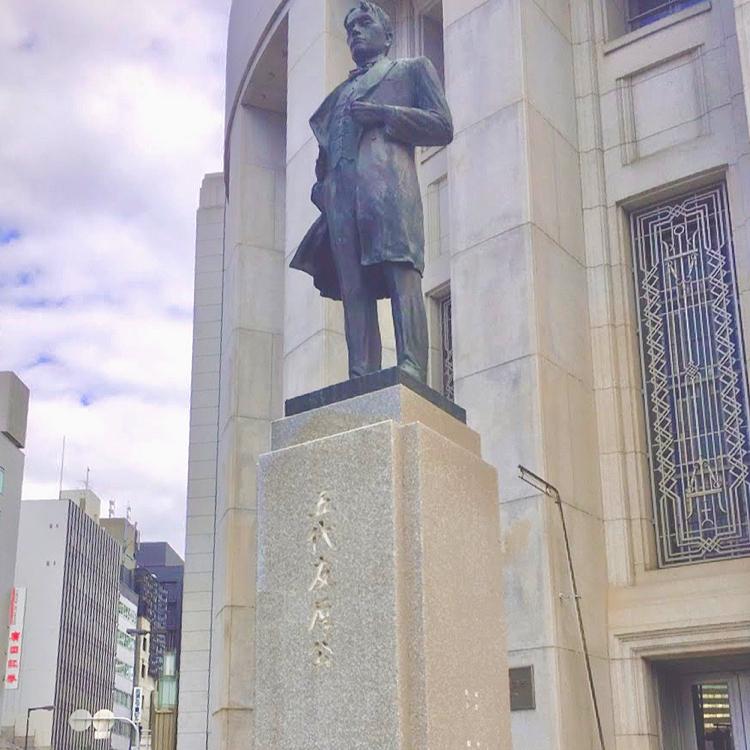 あさが来たの五代友厚像の場所(大阪証券取引所ビル前)