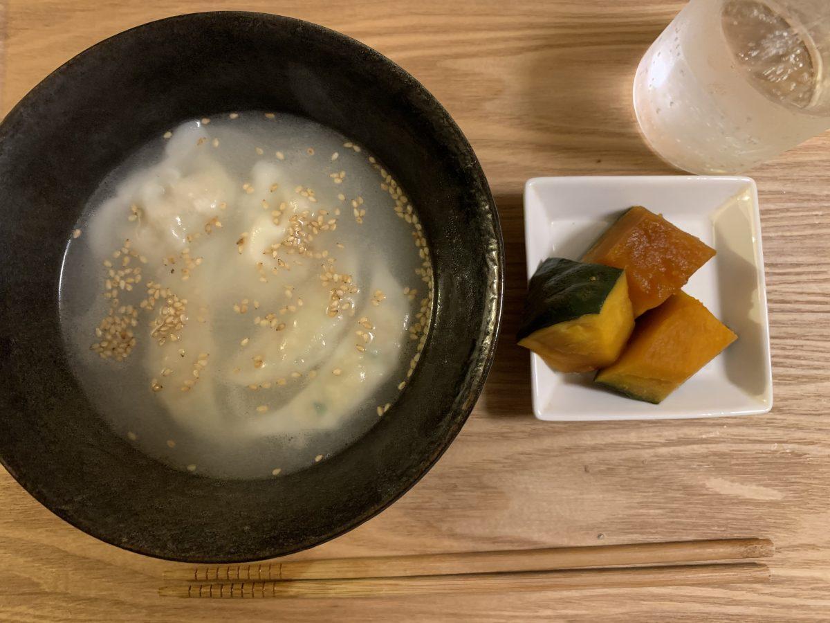 かぼちゃの煮物と餃子スープ