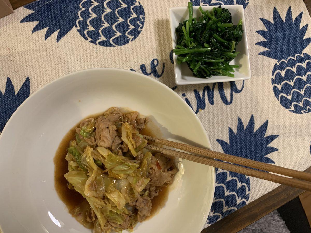 中華野菜炒めとほうれん草の塩麹和え