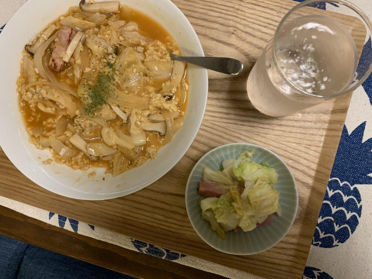 オートミールのトマトリゾットと野菜炒め