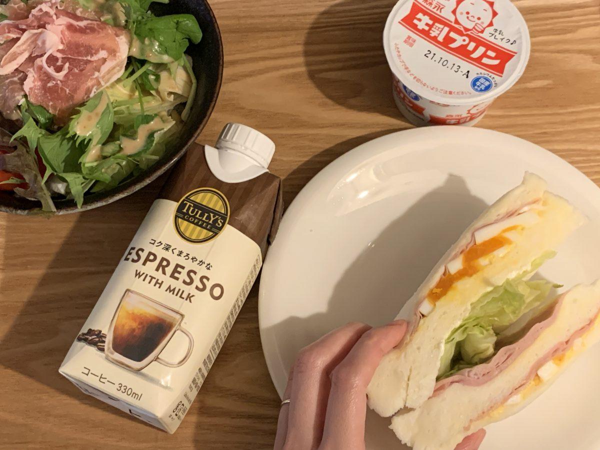 サンドイッチと牛乳プリン