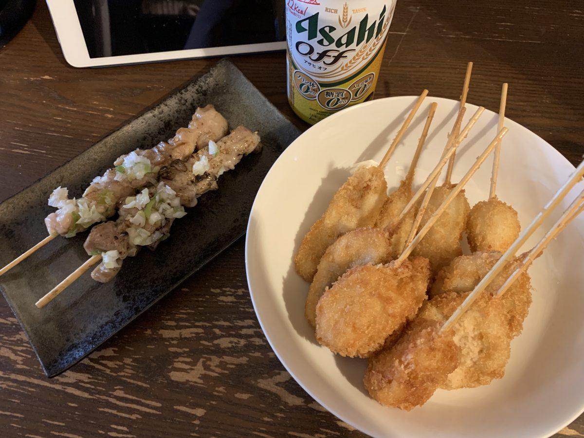串カツと焼き鳥とビール